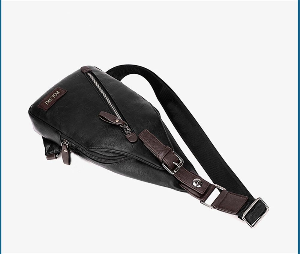 Men's Chest Bag Crossbody Movement Chest Small Backpack Shoulder Bag Leather Youth Student P002