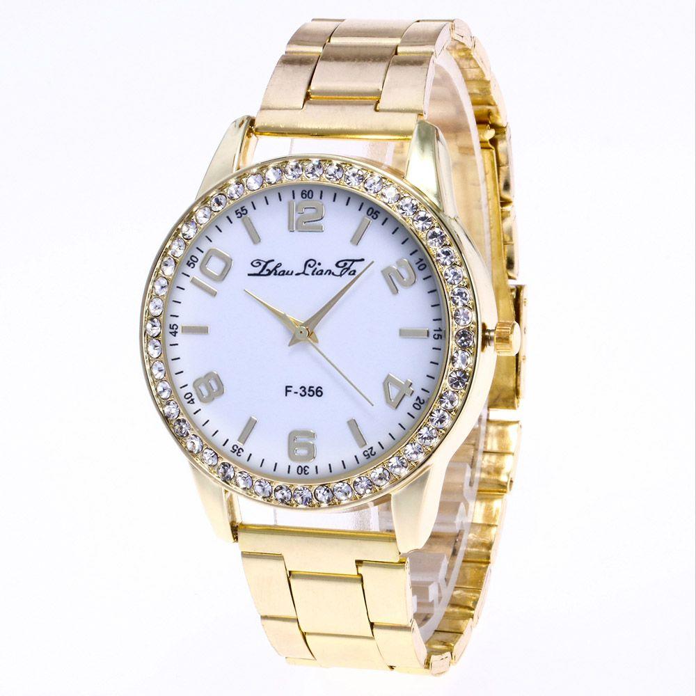 ZhouLianFa New Fashion Golden Diamond Band Ladies Luxury Business Digital Quartz Watch
