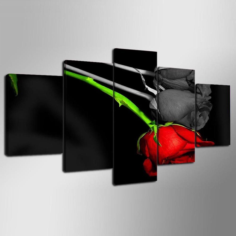 YSDAFEN 5 Pieces Red and Black Rose Wall Art on Canvas for Home Decoration