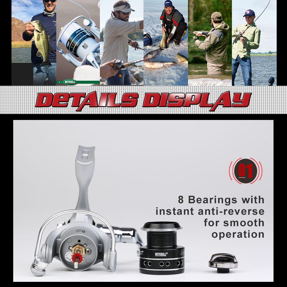 Mitchell AVOCET RZT 500 7+1 Ball Bearing 30lb Carbon Fiber Max Drag Gear Ratio 5.5:1 Spinning Fishing Reel