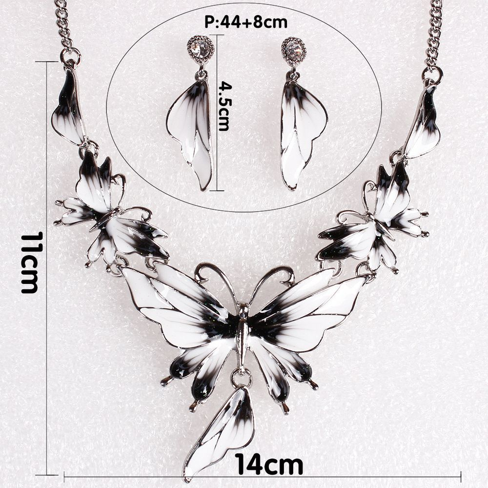 Women Diamond Vintage Butterfly Pendants Necklace with Earrings Choker Jewelry Set