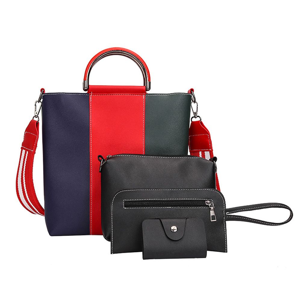 The New Color Band Collision Color Four-Piece Bag with Simple Fashion Single Shoulder Slanting Bags