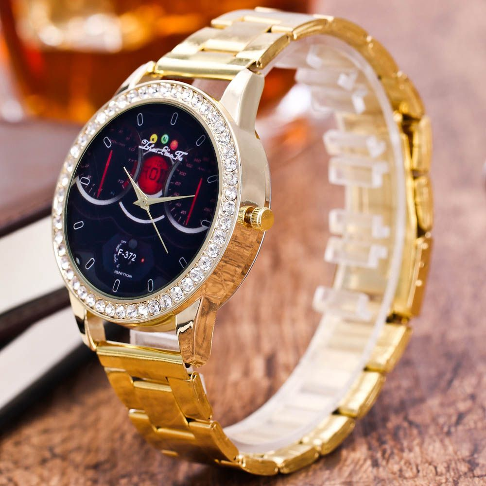 ZhouLianFa Brand Fashion Golden Diamond Band Luxury Ladies Business Vintage Quartz Watch