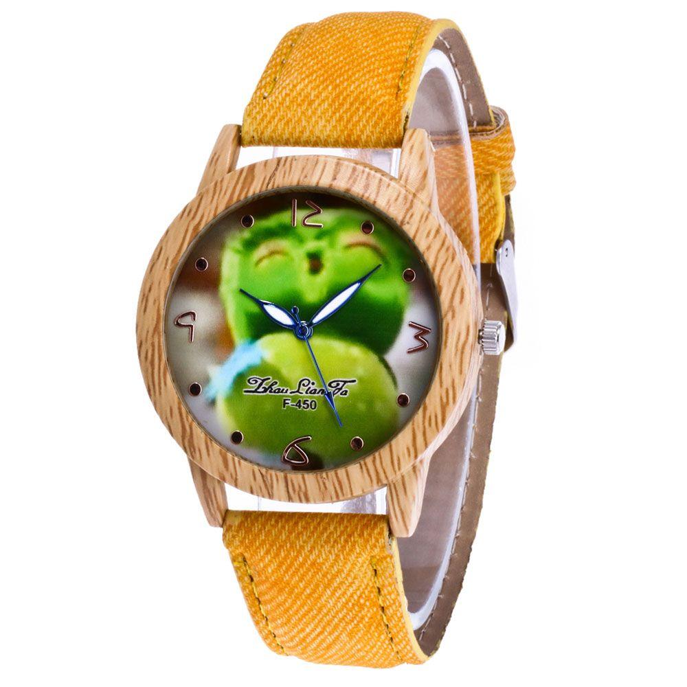 ZhouLianFa New Trend of Outdoor Fashion Wood Grain Denim Canvas Cartoon Fruit Send Quartz Watch