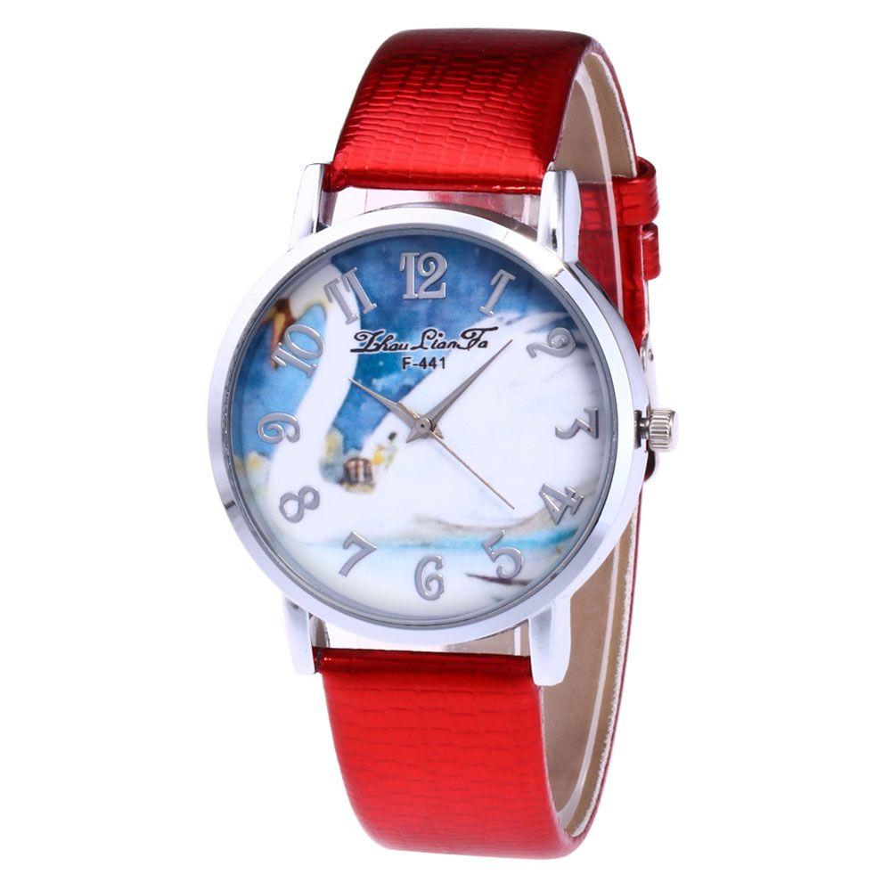 ZhouLianFa New Outdoor Fashion Crocodile Pattern Silver Swan Quartz Watch
