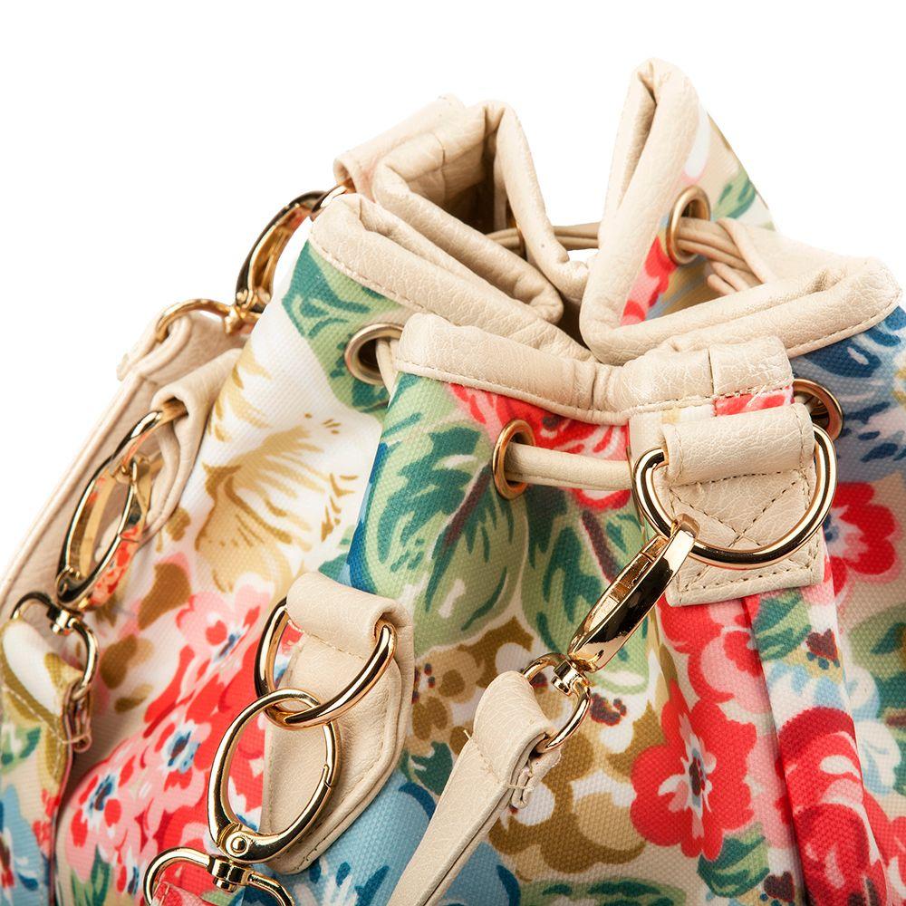 Drawstring Backpack For Women Waterproof Drawstring Sports Bag (Red flower)