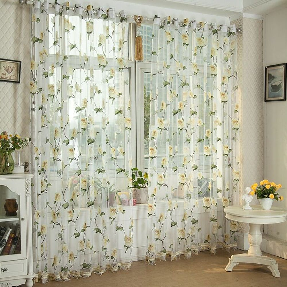 Peony European and American Flower Curtain Window Screen