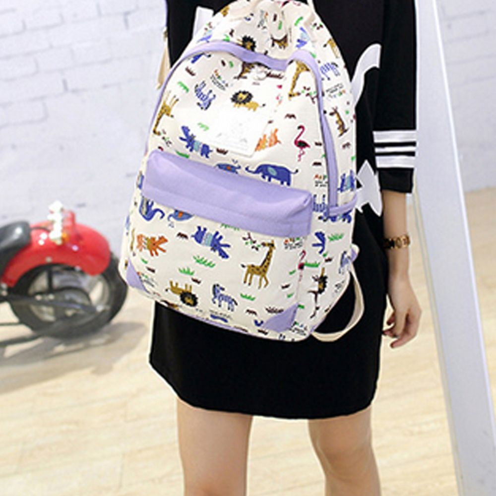 Women's Backpack Trendy Color Block Printing Pattern All Match Bags Set
