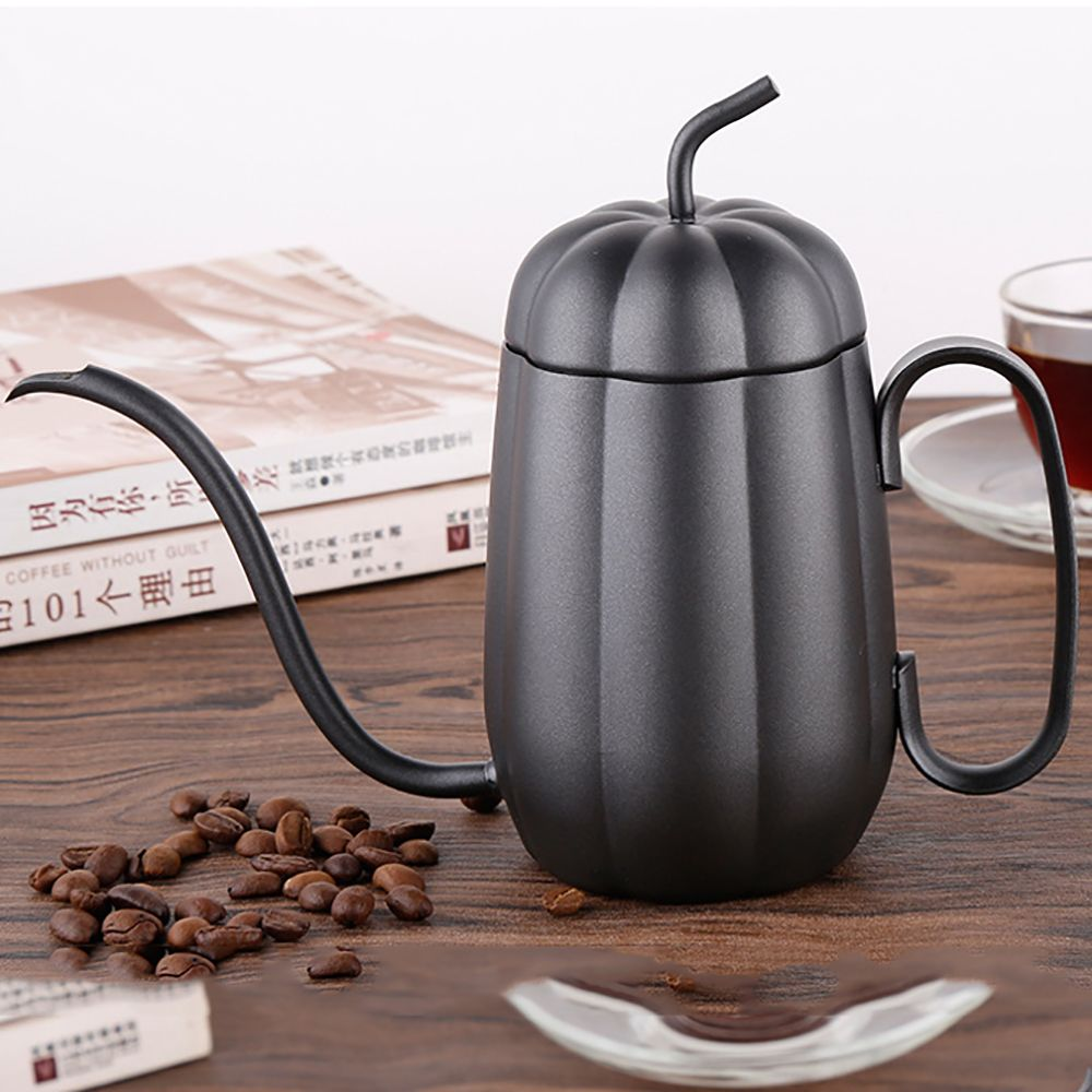 Hand Drip Pumpkin Kettle Pour Over Coffee and Tea Pot Premium Stainless Steel with Copper Coating 450ml Copper
