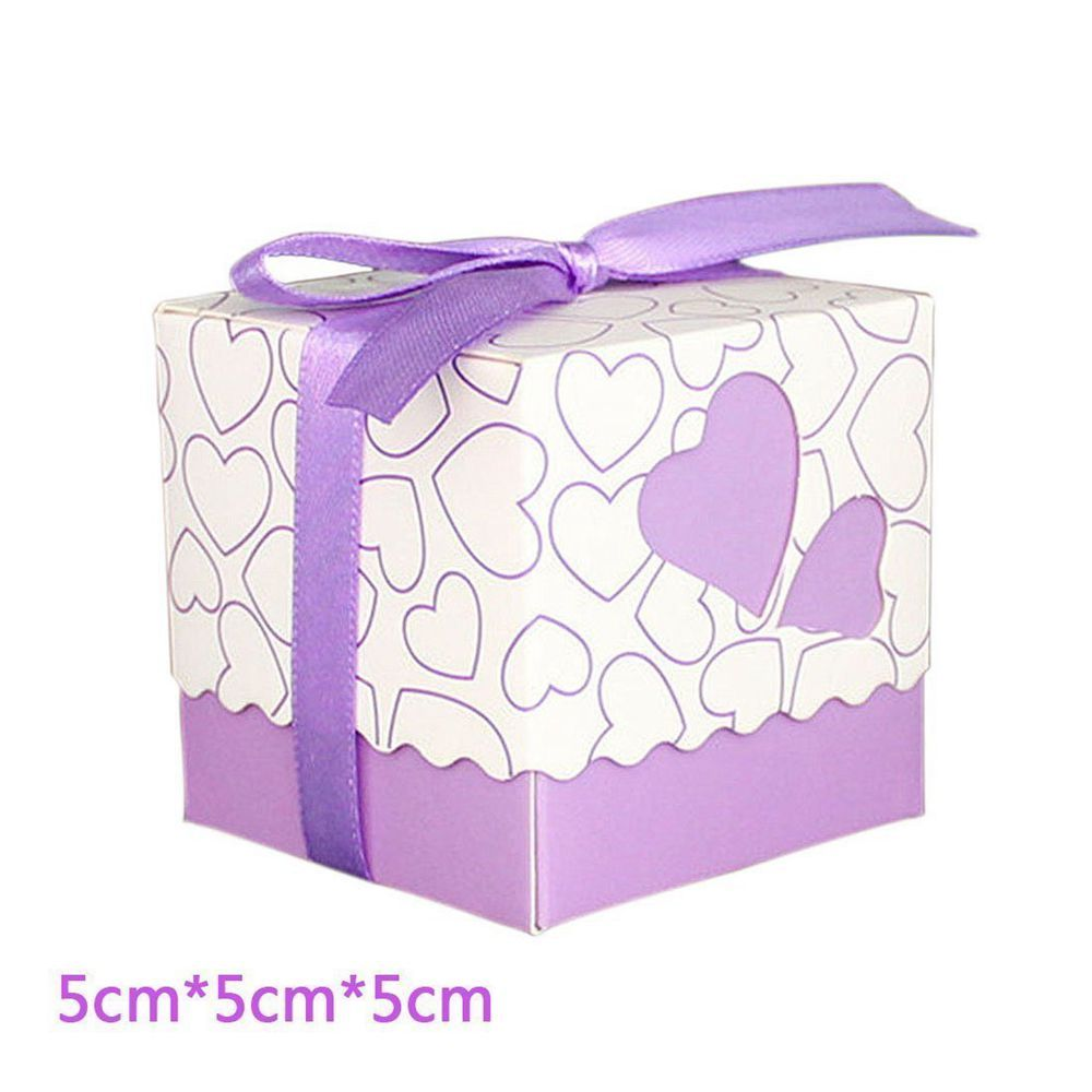 Novelty Double Hollow Love Heart Design Wedding Favor Candy Boxes Gift Boxes with Ribbons   50 pcs