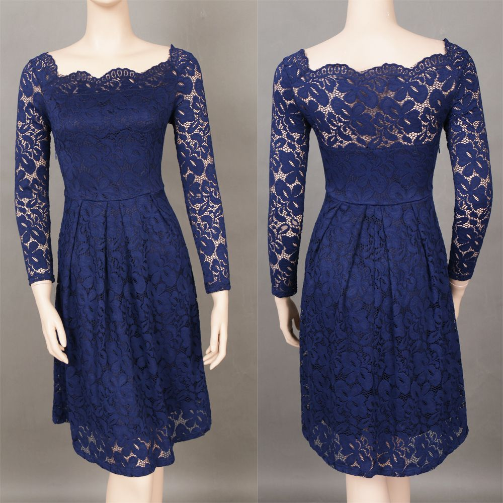 Robe Femme Embroidery Vintage Lace  Women Off Shoulder  Long Sleeve Casual Evening Party  Dress