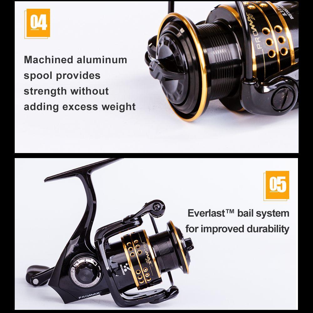 Abu Garcia PRO MAX Top Quality Good Price 6+1 Ball Bearing 6.5lb Carbon Fiber Max Drag Spinning Fishing Reel