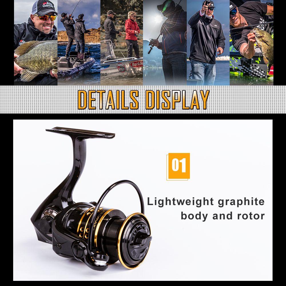 Abu Garcia PRO MAX 40 Top Quality 6+1 Ball Bearing 14lb Carbon Fiber Max Drag Gear Ratio 5.1:1 Spinning Fishing Reel
