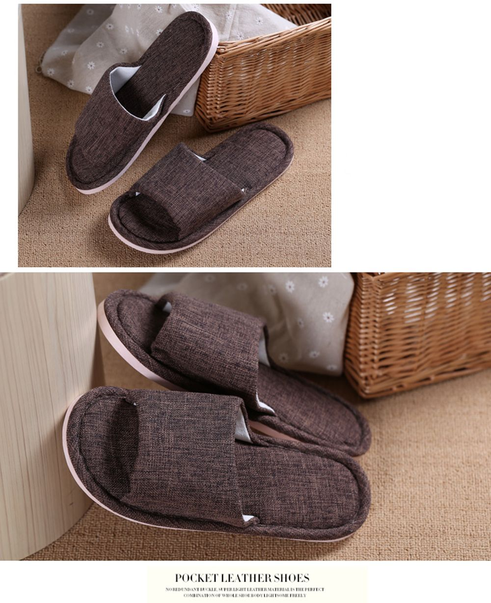 Linen Cotton Simple Household Lovers Slippers