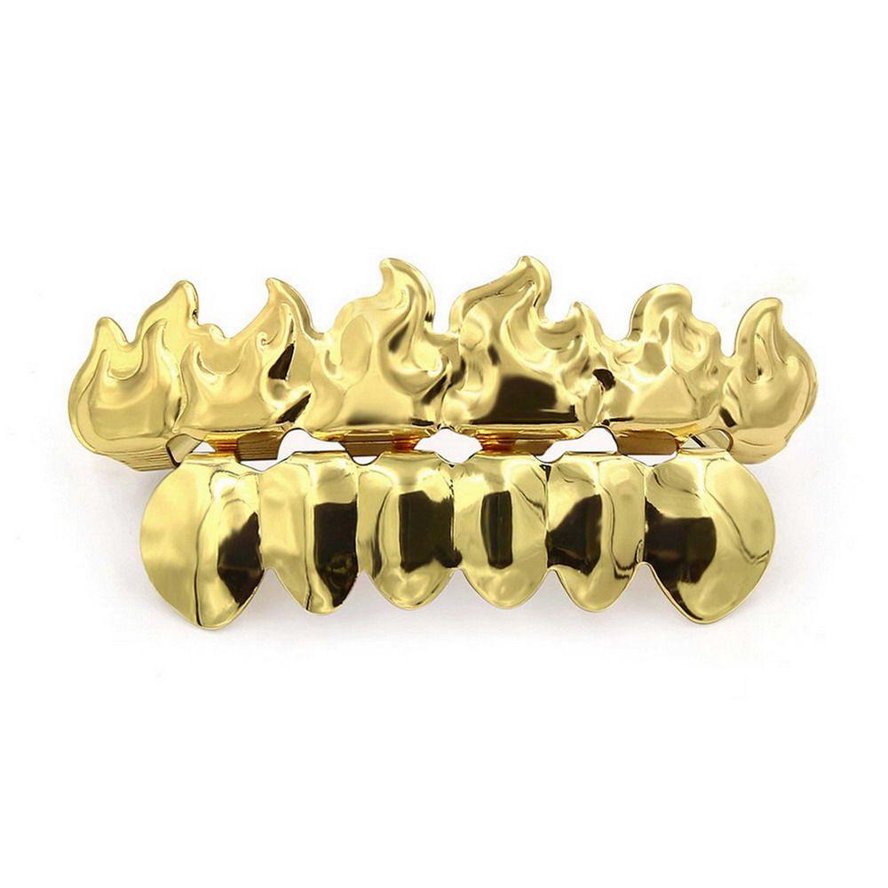 Hip Hop 18K Gold Plated Fire Teeth Grillz
