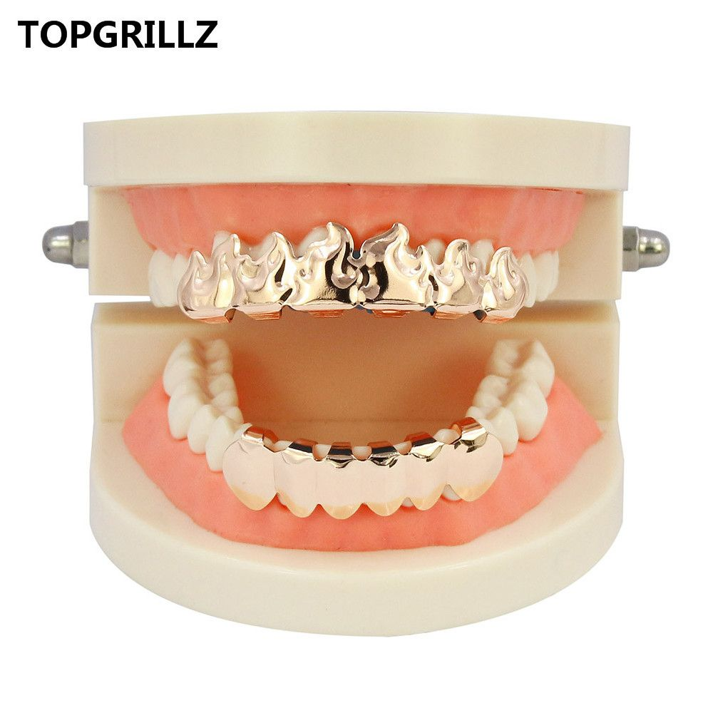 Hip Hop 18K Gold Plated Fire Teeth Grillz