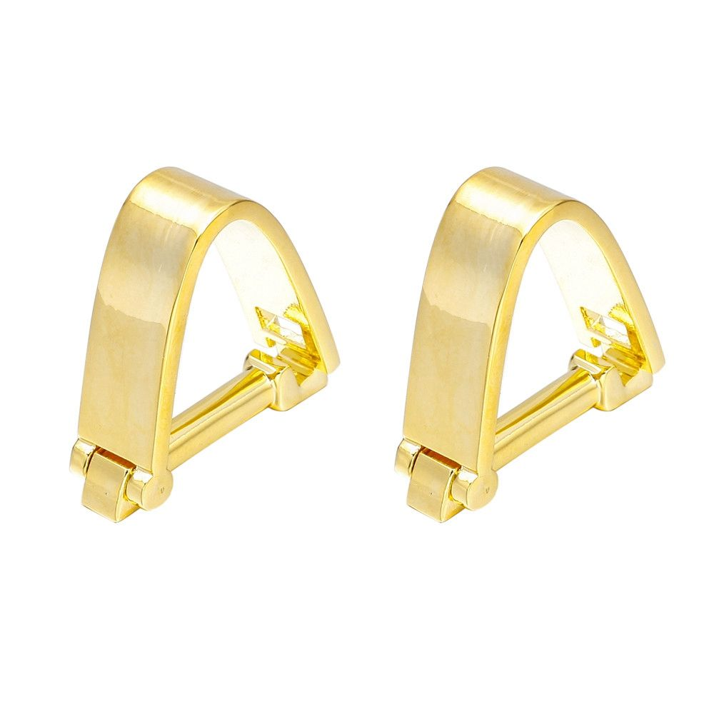 French Fashion Gold Snap Cufflinks Long Sleeved Shirt Nails