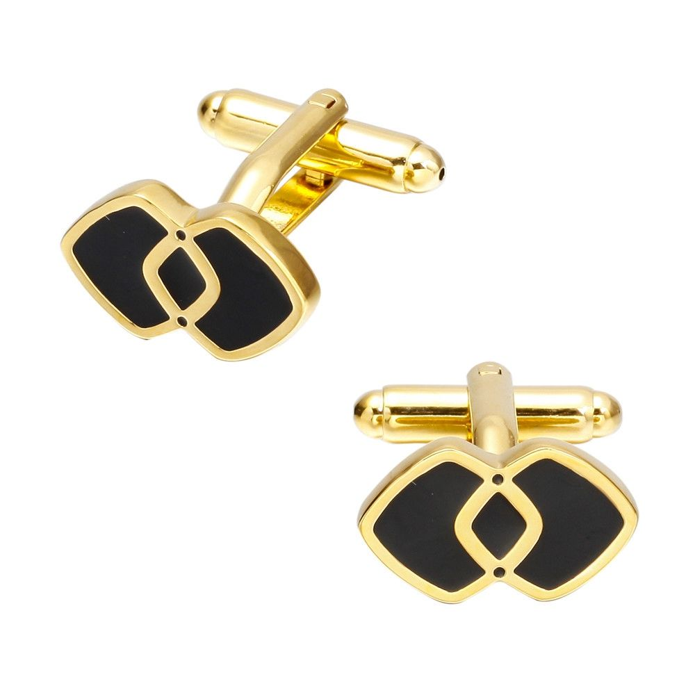 Fashion Gold Double Square Cufflinks French Shirt Sleeve Nails