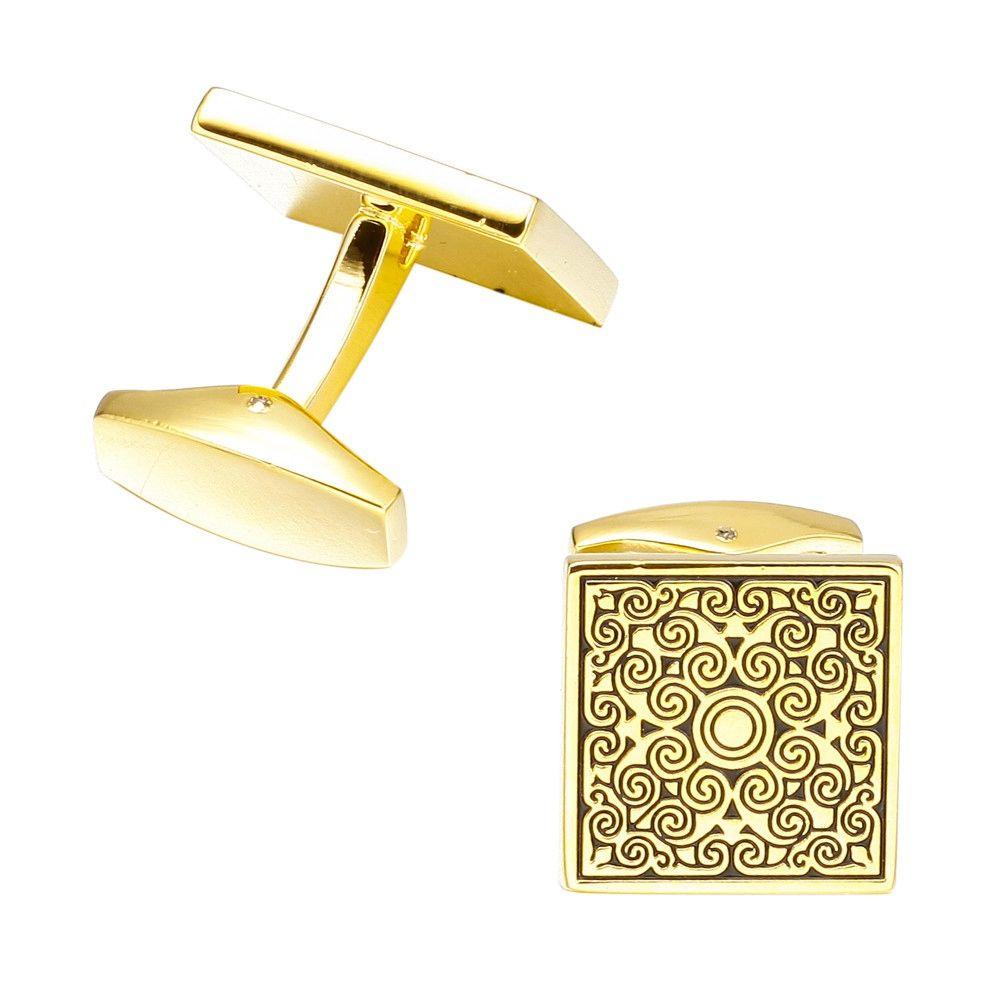 Fashion Golden Square Pattern CufflinksShirt Sleeve Nails