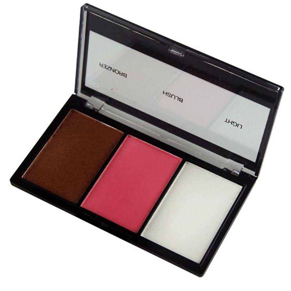 GORON F2015 3 Colors Blusher Bronzer Palette Facial Makeup Palettes 3PCS