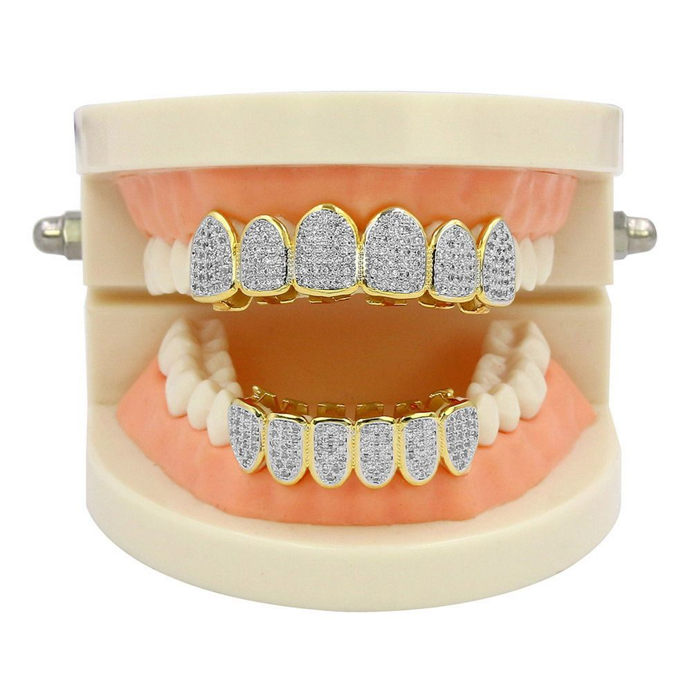 Hip Hop 18K Gold Plated Vampire CZ Stone Teeth Grillz