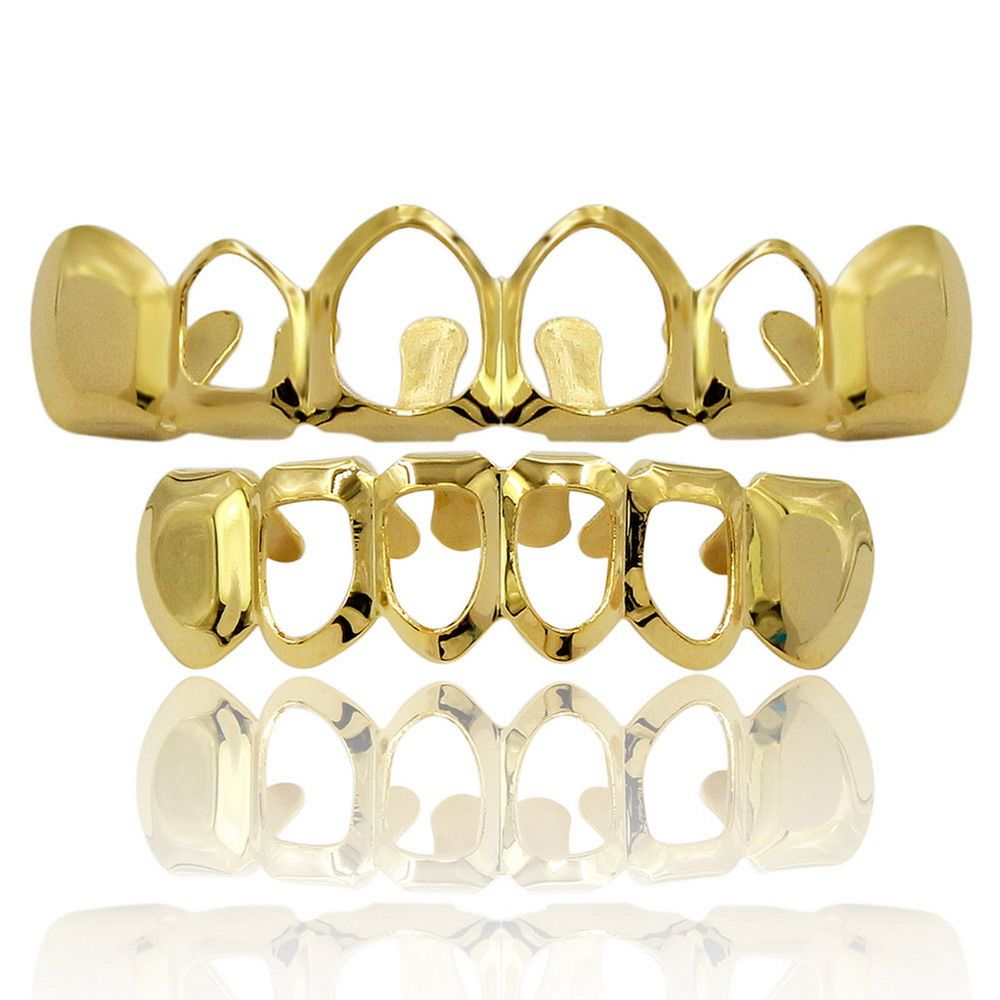 Hip Hop 18K Gold Plated Hollow Teeth Grillz