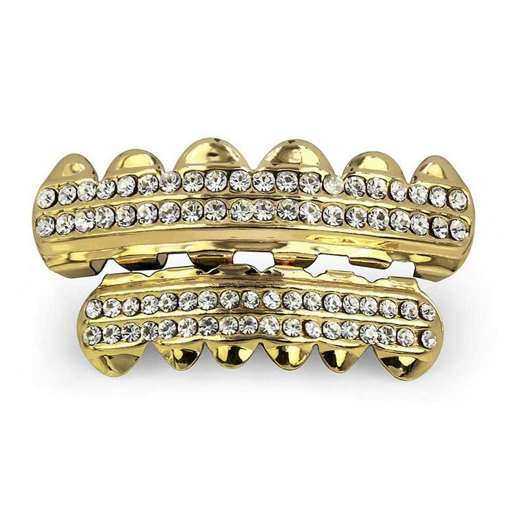 Hip Hop 18K Gold Plated Gold Crystal Classic Grillz
