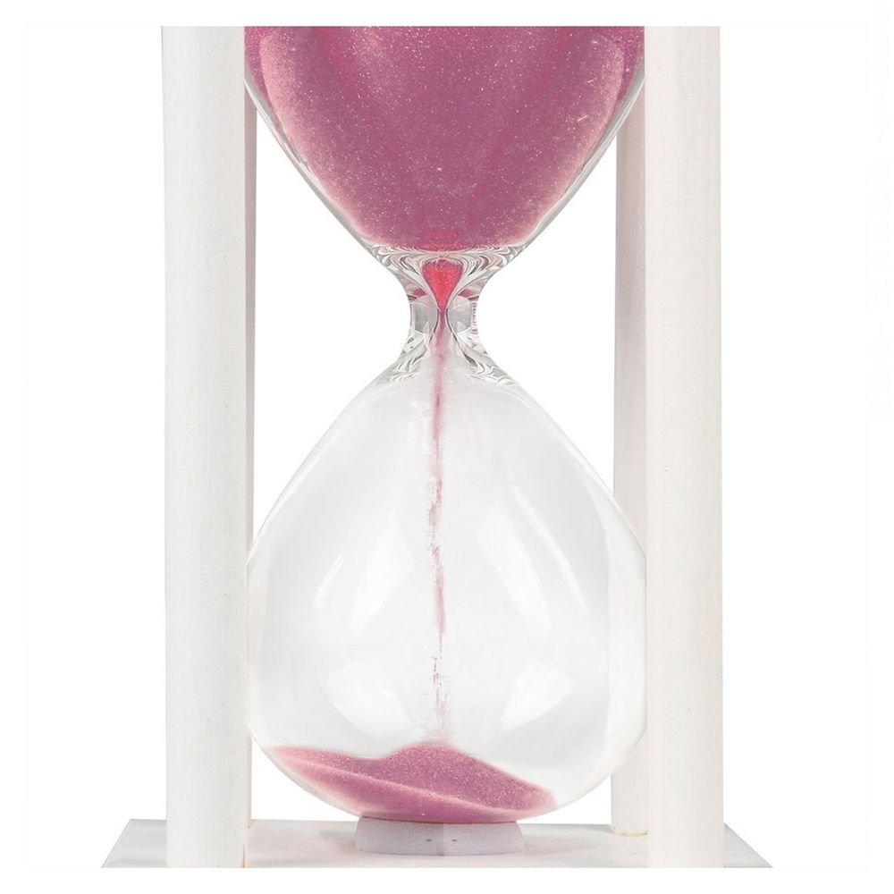 POSCN 60 Minutes Durable Glass Hourglasses White Wood Sand Timer for Time Management LP9007-0018