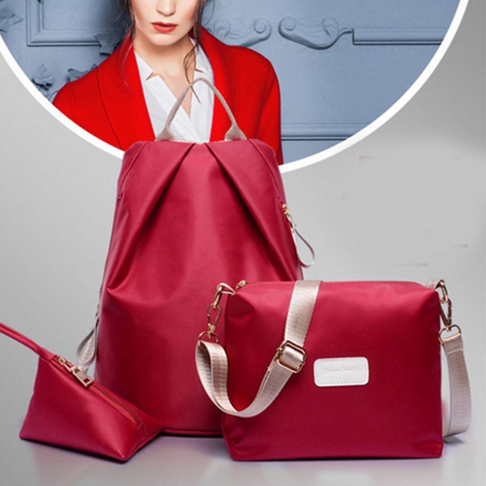 Women's Backpack Set Nylon Solid Color Sterling School Bags Set