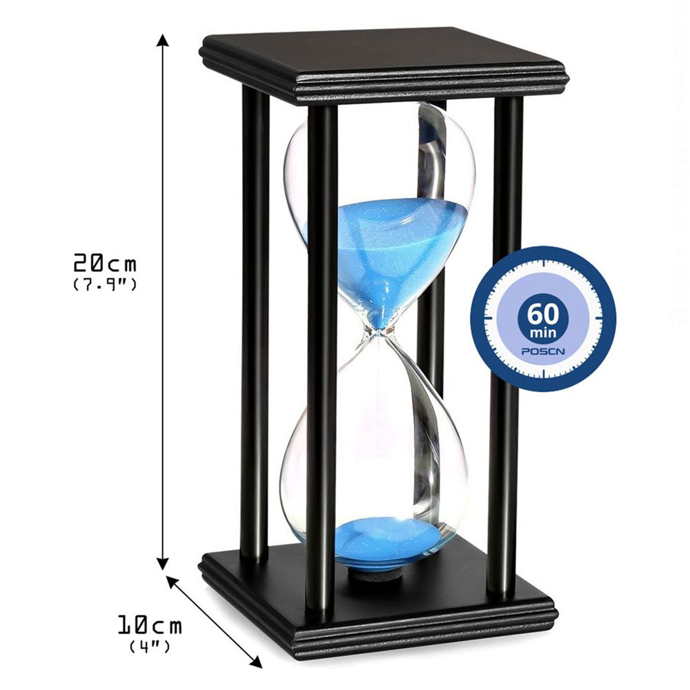 POSCN 60 Minutes Durable Glass Hourglasses Black Wood Sand Timer for Time Management LP9007-0010
