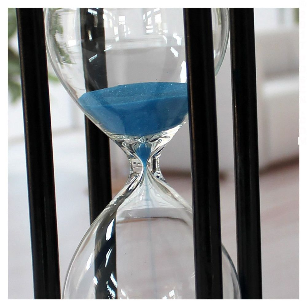 POSCN 45 Minutes Durable Glass Hourglasses Black Wood Sand Timer for Time Management LP9007-0009