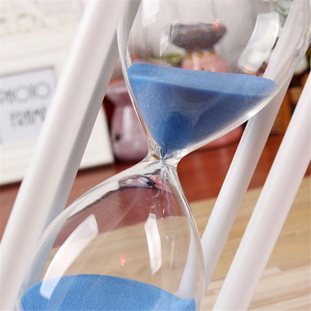 POSCN 15 Minutes Durable Glass Hourglasses White Wood Sand Timer for Time Management LP9007-0008
