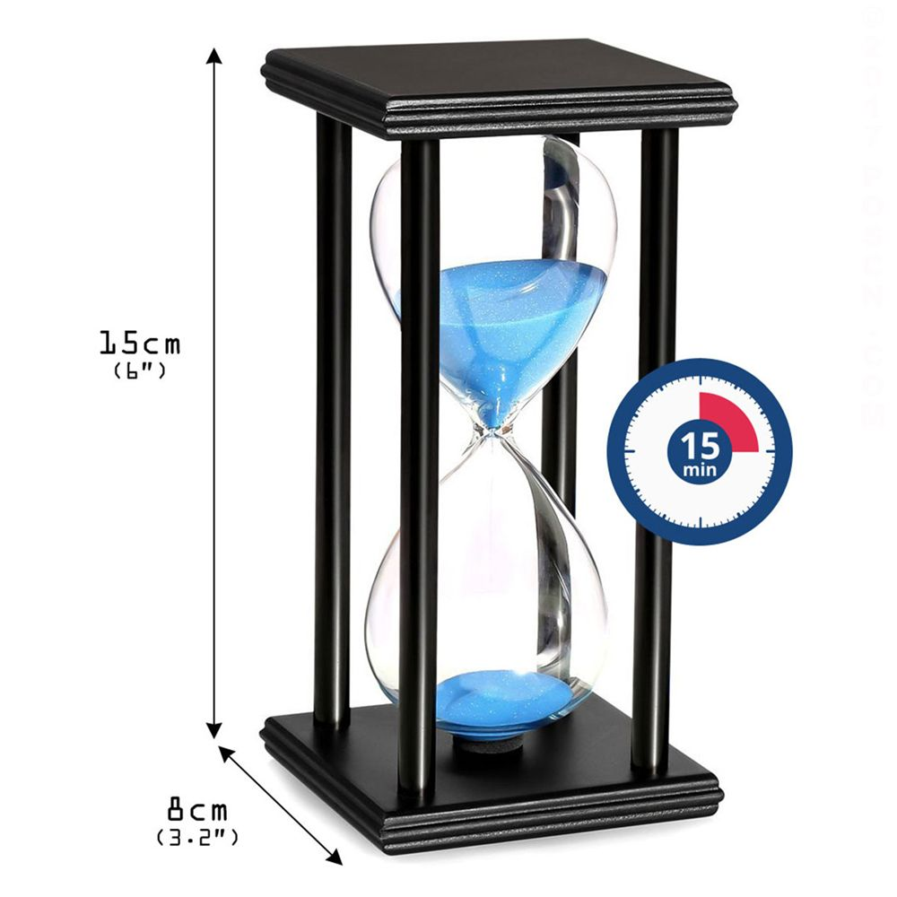 POSCN 15 Minutes Durable Glass Hourglasses Black Wood Sand Timer for Time Management LP9007-0007