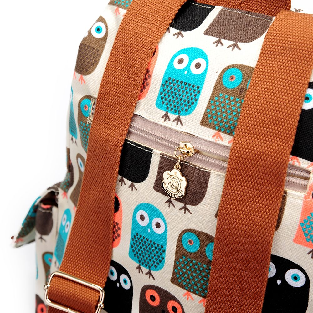 School Backpacks For Girls Floral Canvas Backpack College Backpack Owl