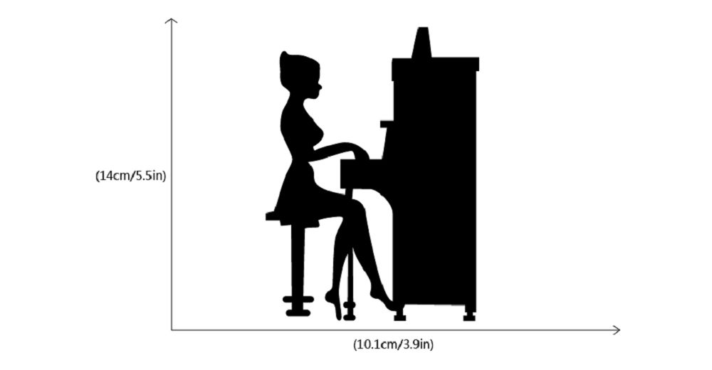 Girl Playing Piano Silhouette Light Switch Sticker Vinyl Music Decal Piano Wall Sticker