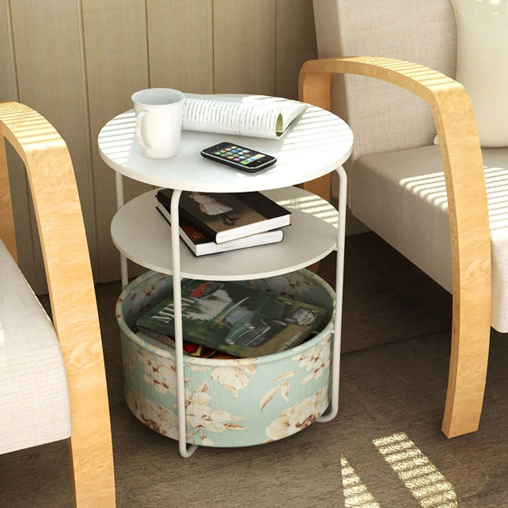 Round Wooden Side Table/End Table,3 Tiers With a Book Storage Canvas Basket Bag(Green)