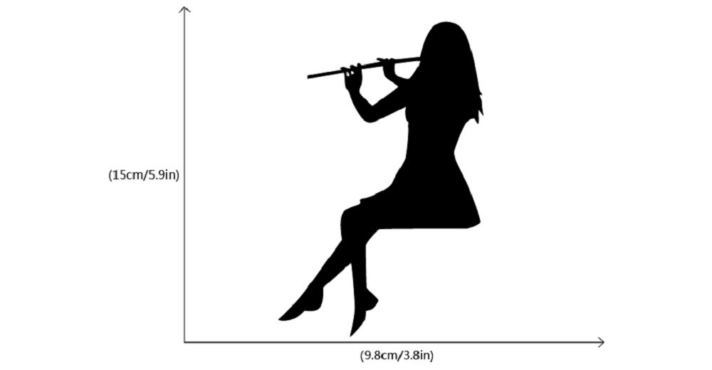 Girl Playing Flute Silhouette Light Switch Sticker Classical Music Wall Sticker Home Decor