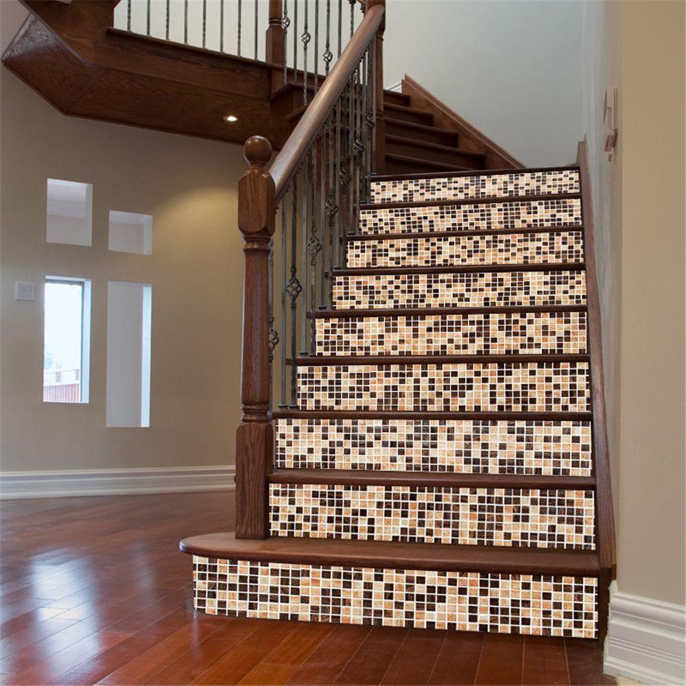 ZB22 Small Square Retro Mosaic Self-Adhesive Decorative Stairs Sticker