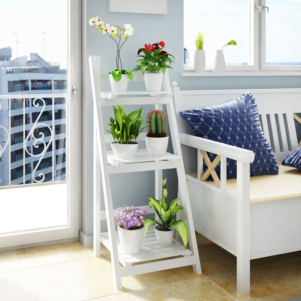 Foldable Plant Stand Flower Ladder Rack, Solid Wood (3-Tier)