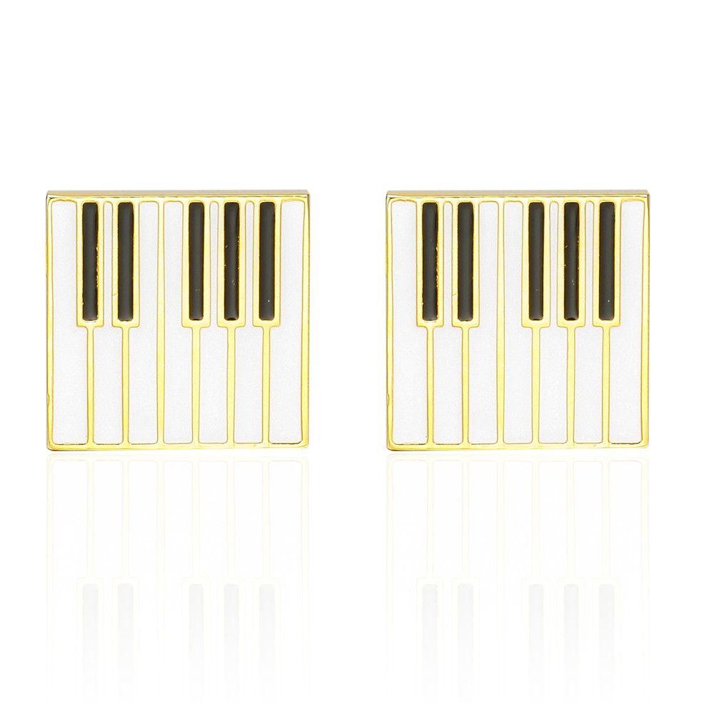 French Fashion Gold Piano Cufflinks Long Sleeved Shirt Nails