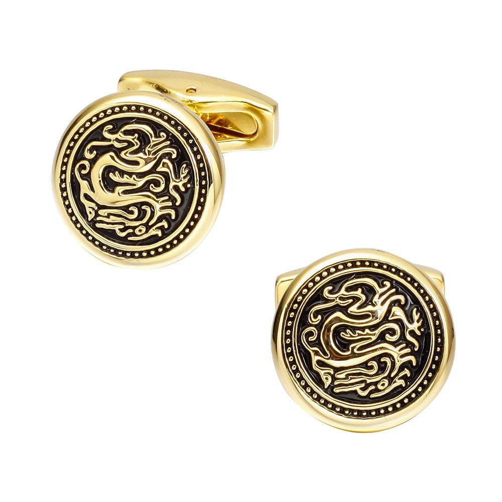 Fashion Gold Dragon Round Cufflinks French Long Sleeved Shirt Cuff Nails