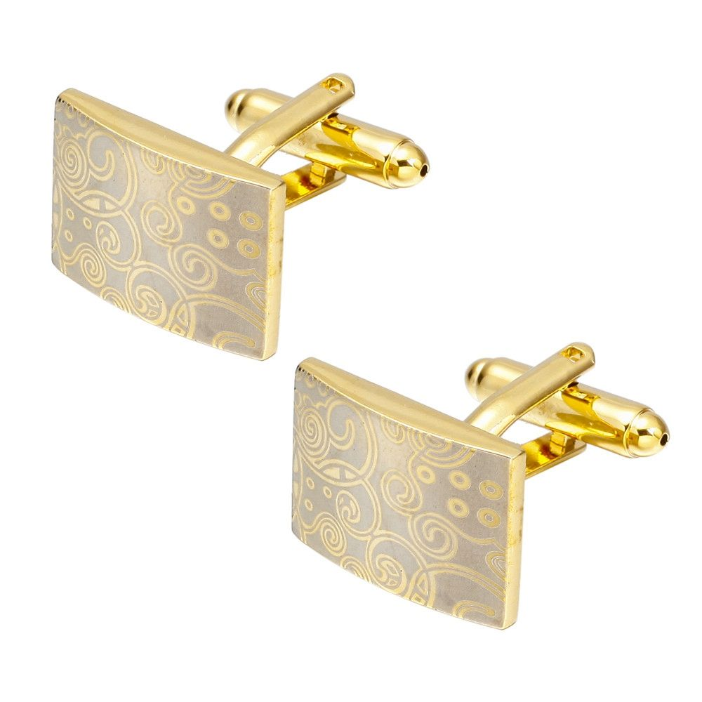 Fashion Gold Square Cufflinks French Shirt Sleeve Nail Auspicious Clouds Cuff Links