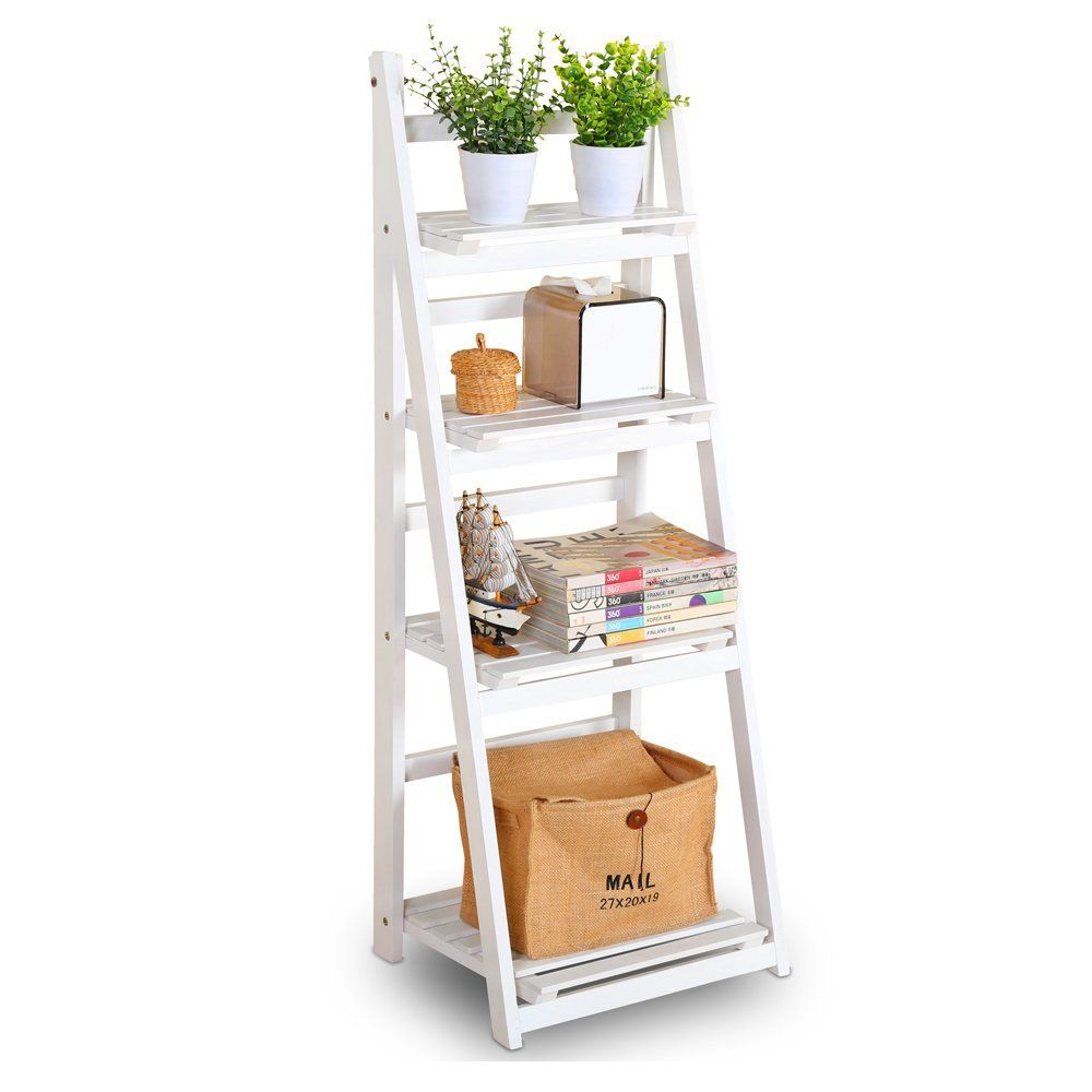 Foldable Plant Stand Flower Ladder Rack, Solid Wood (4-Tier)