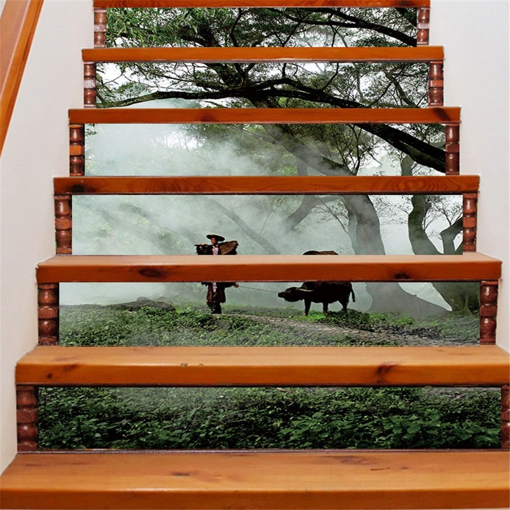 ZB19 Creative Corridor 3d Chinese Style Dawn Young Shepherd Decorative Wall Sticker Stairs Sticker