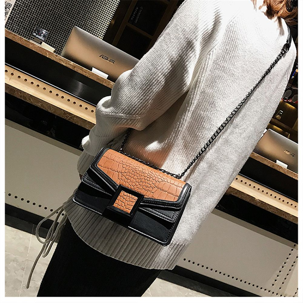 new Fashion Handbag Simple Crocodile Pattern Shoulder Messenger Bag