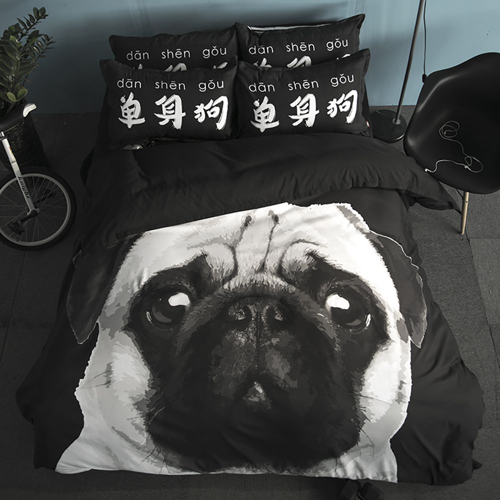 New Arrivals Cartoon Bedding Set for Kids 3D Animal Bed Sheet Queen Size Cute Bulldog Print Duvet Cover Home Bedclothes
