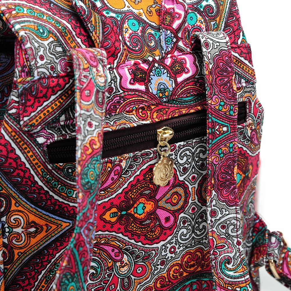 Small Canvas Backpack For Women Mini Backpack Floral Backpack Red