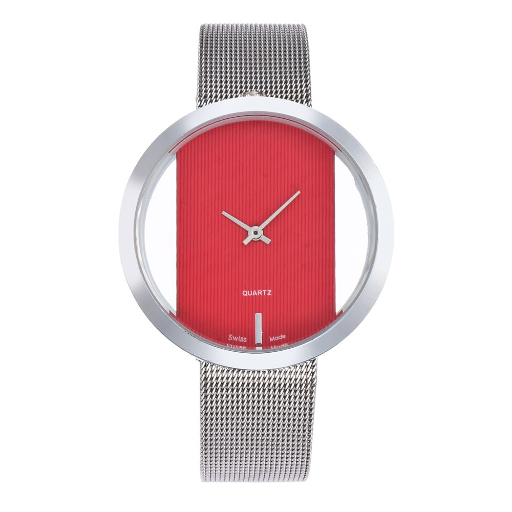 New Personality Fashion Watch Simple Style Neutral Watch on Both Sides of The Transparent Silver Mesh + Gift Box