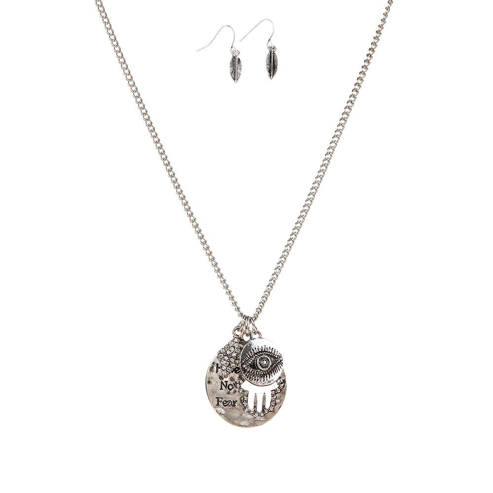 New Letter Necklace Eye Palm Long Sweater Chain Popular Personalized Earrings and Necklaces Jewelry Set