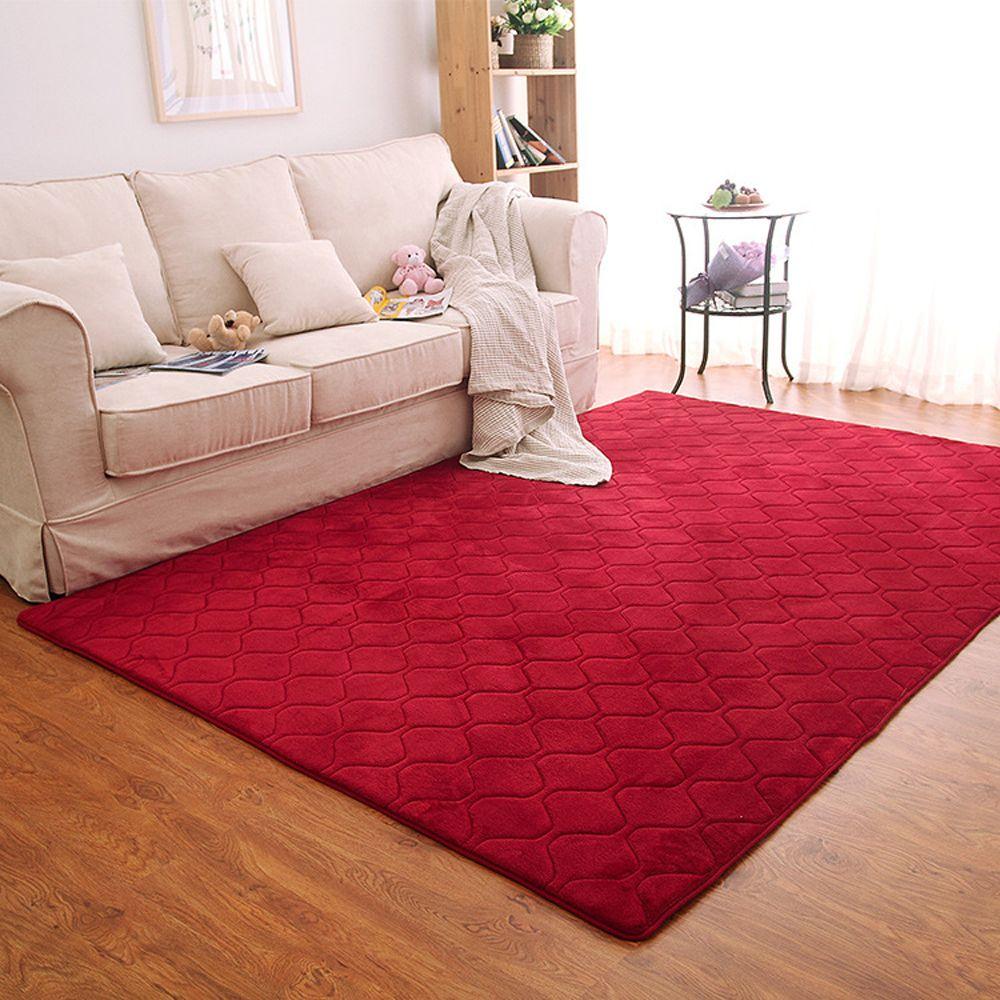 Floor Mat Thicken Coral Fleece Comfy Soft Geometric Pattern Home Mat2